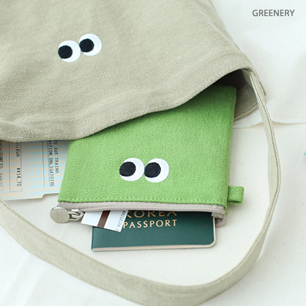 Greenery - Som Som stitching small zipper pouch