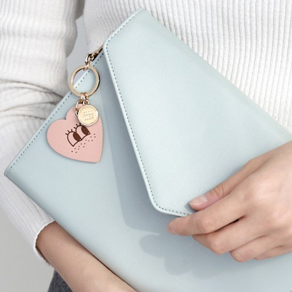 Heart - Humming leather key chain key ring