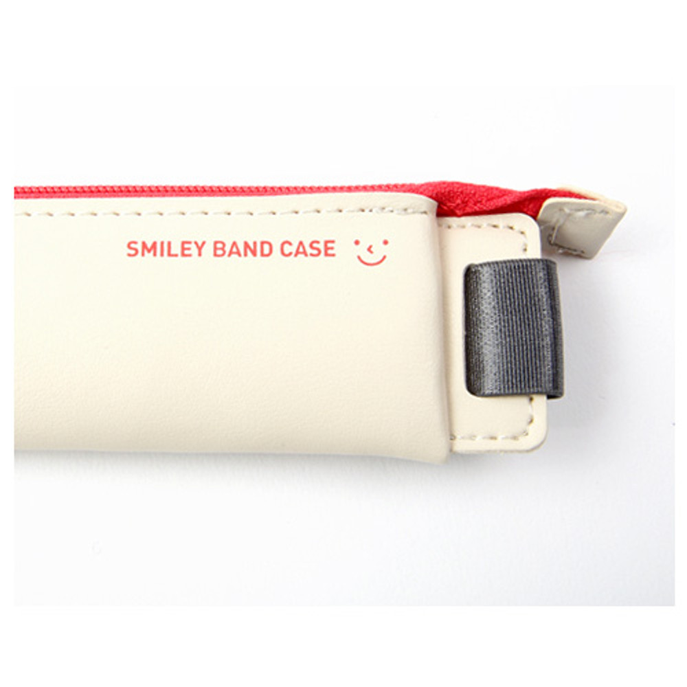 Smiley pen case with elastic band holder