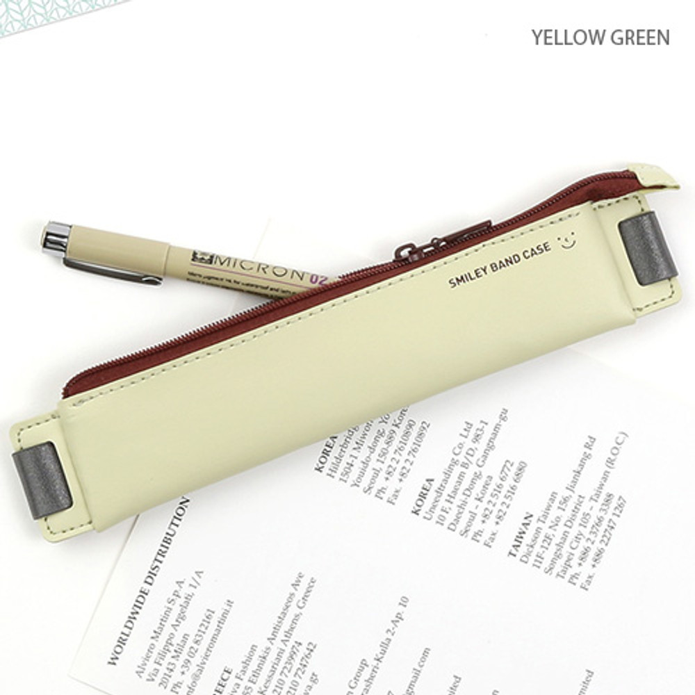 Yellow green - Smiley pen case with elastic band holder