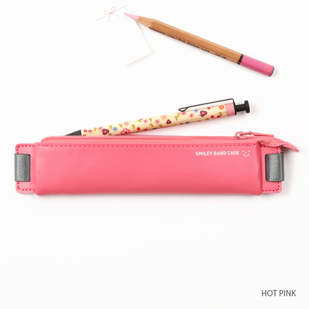 Hot pink - Smiley pen case with elastic band holder