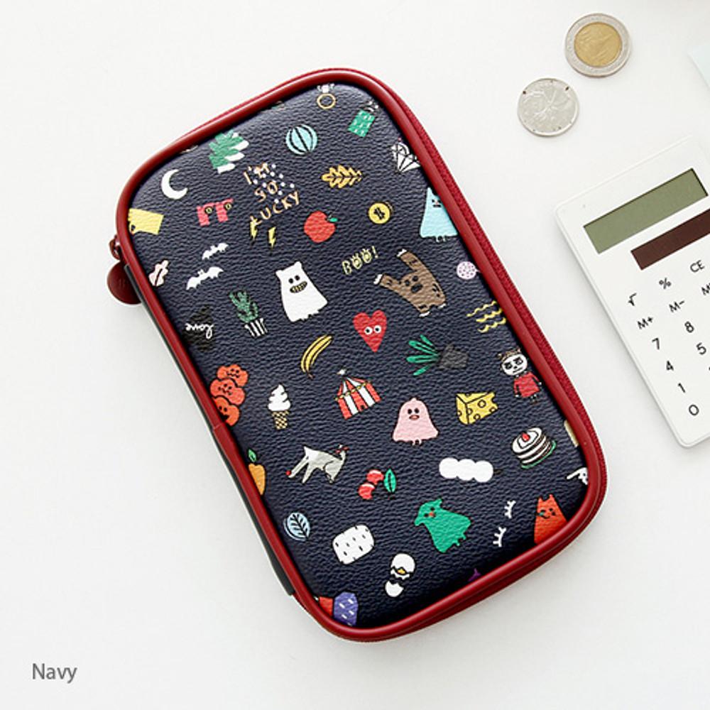 Navy - Ghost pop cute illustration pencil case ver2