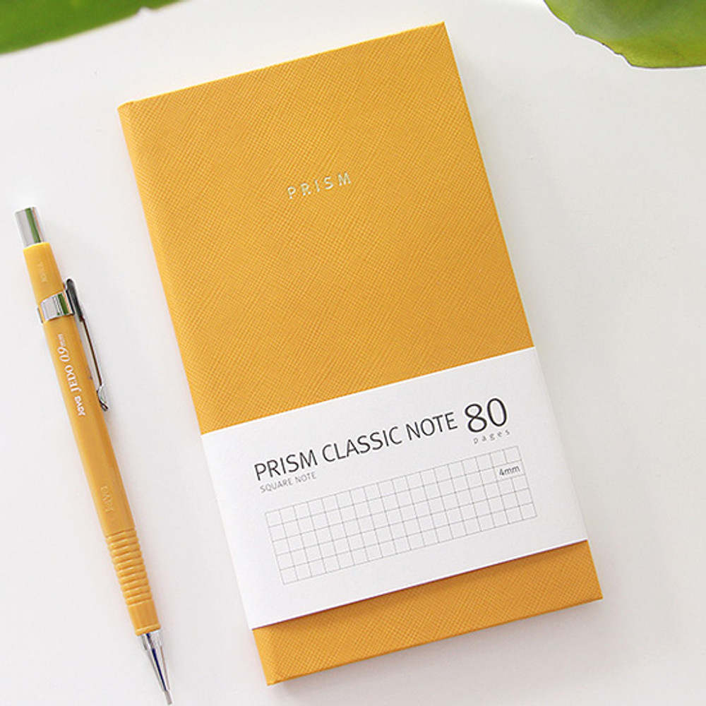Yellow - Prism classic 80 pages lined grid notebook