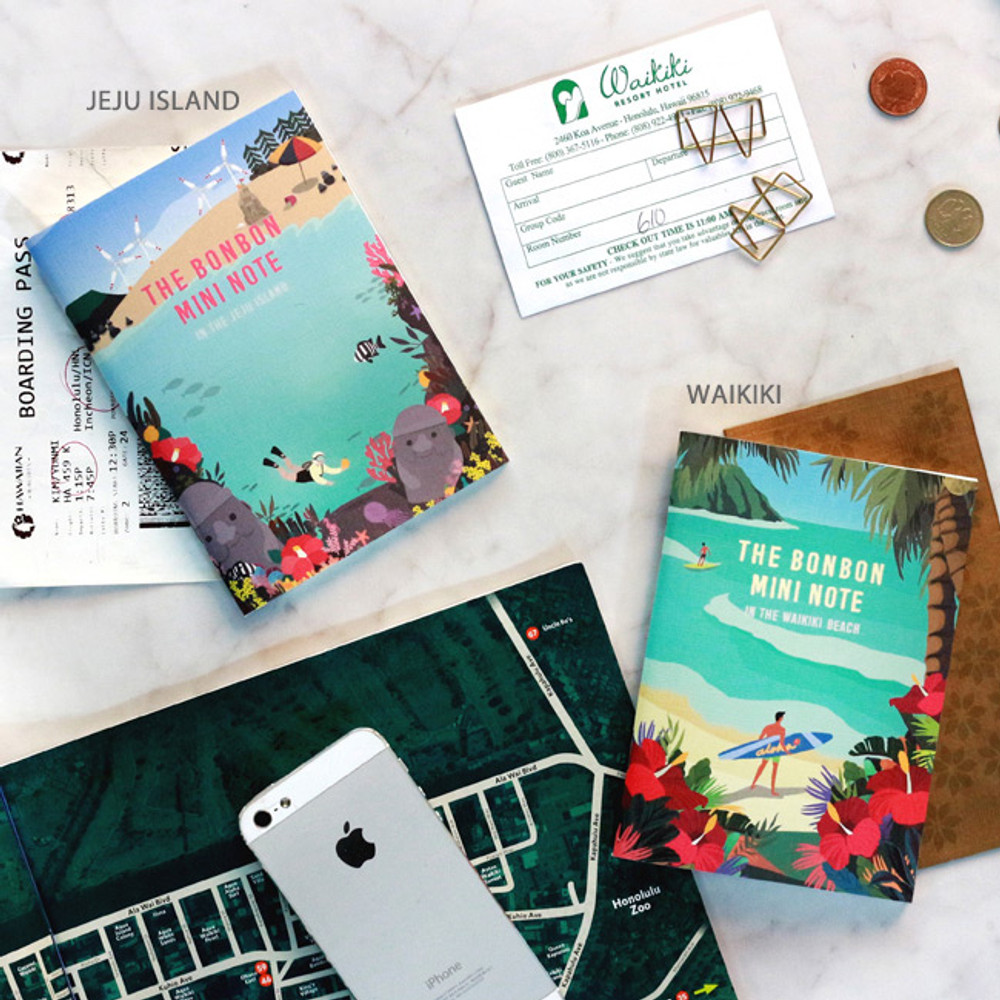 Jeju island / Waikiki - Bon Bon illustration small lined notebook
