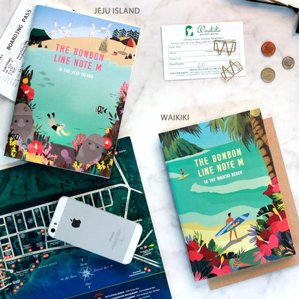 Jeju island / Waikiki - Bon Bon lined notebook