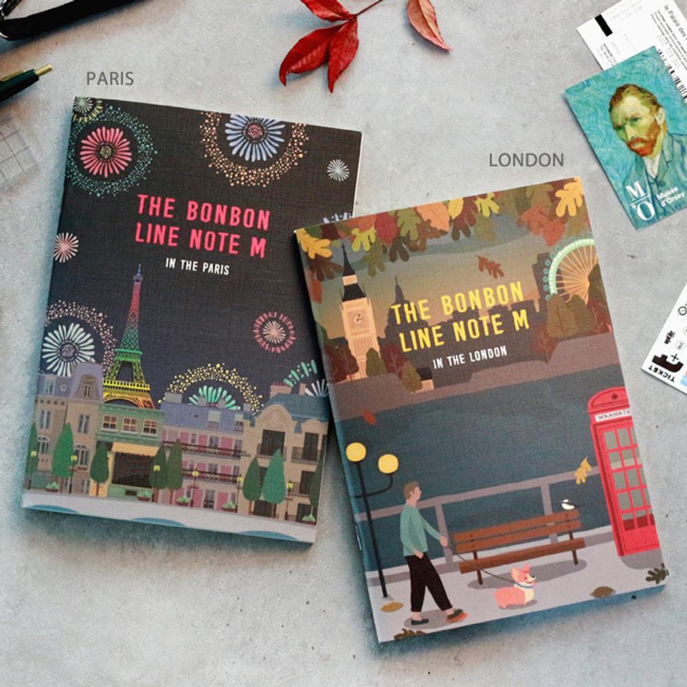 Paris / London - Bon Bon illustration medium lined notebook