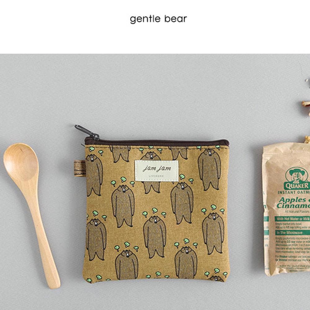 Gentle bear - Jam Jam cute illustration pattern small zipper pouch