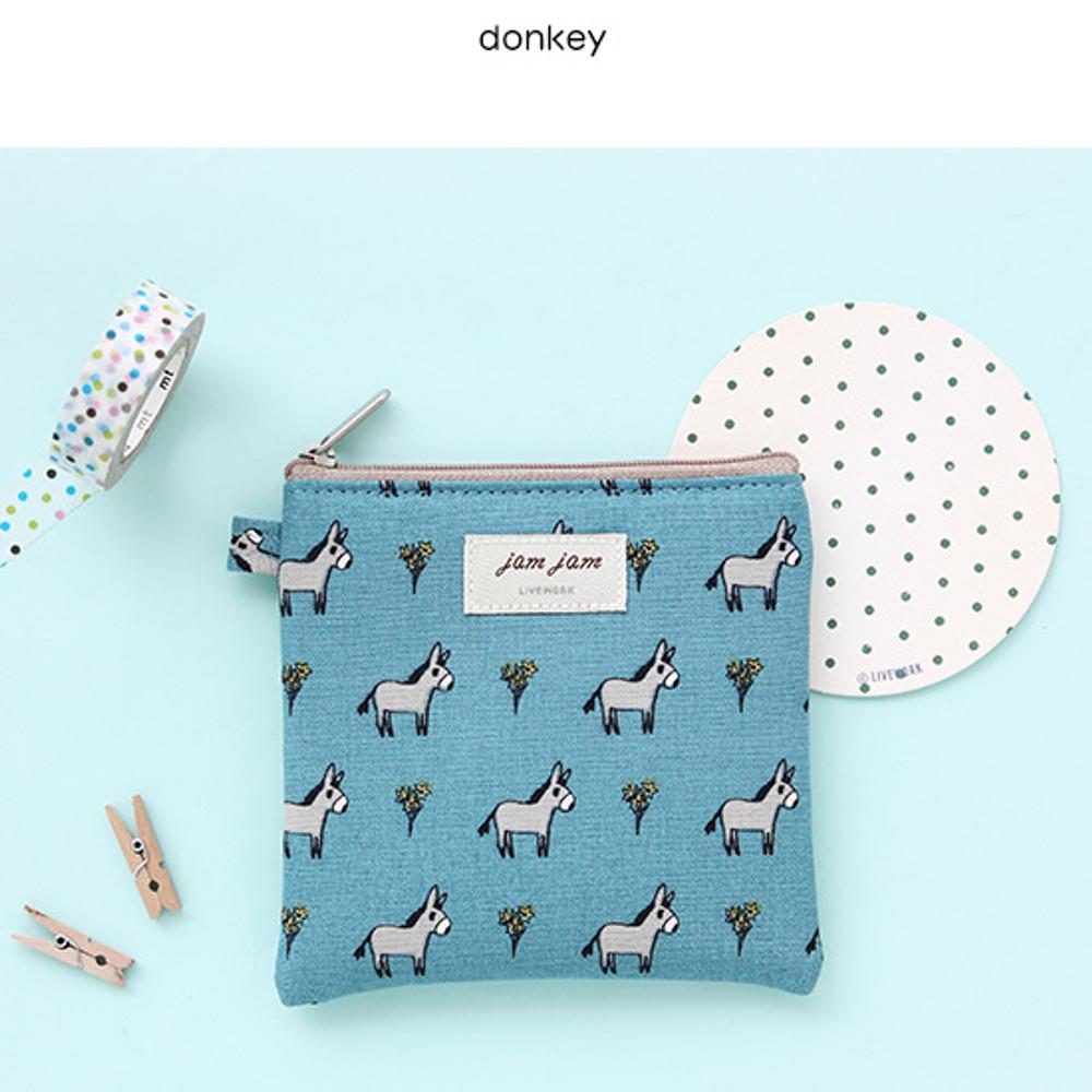 Donkey - Jam Jam cute illustration pattern small zipper pouch