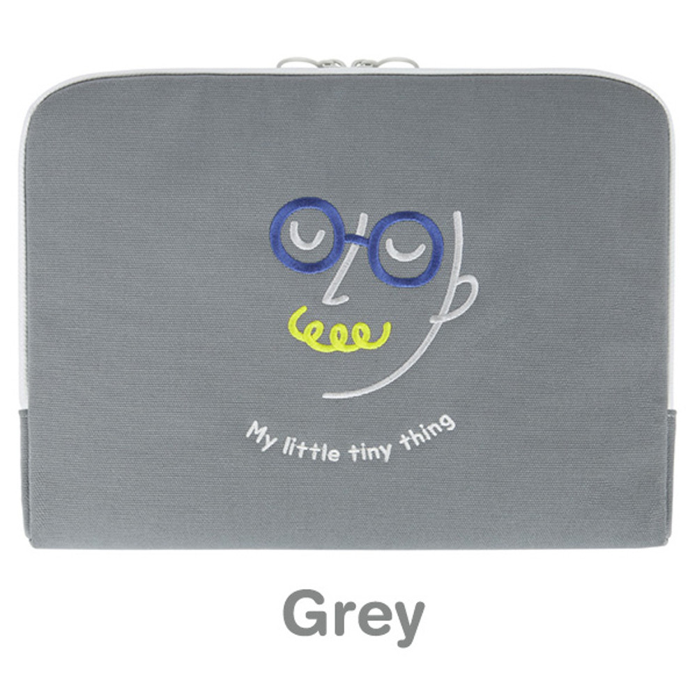 Gray - My little tiny thing 13 inches laptop pouch case