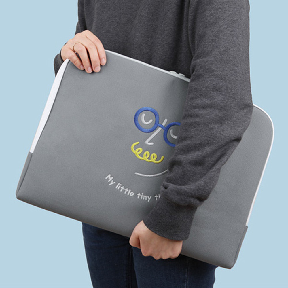 Gray - My little tiny thing 15 inches laptop pouch case