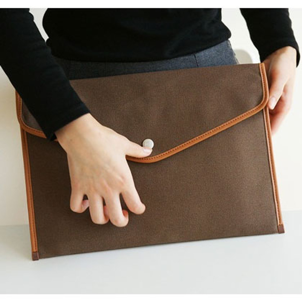 The front of A4 canvas pouch - brown
