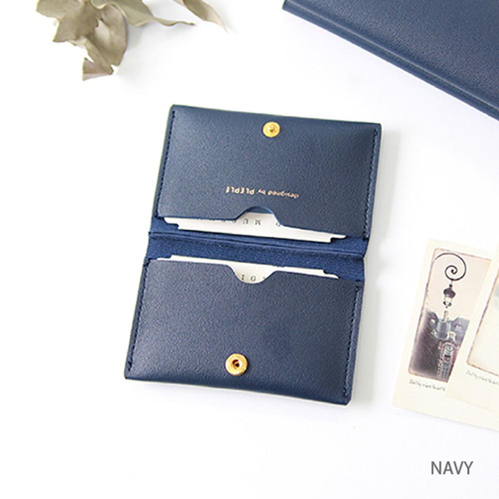 Navy - Multi purpose twin pocket card case