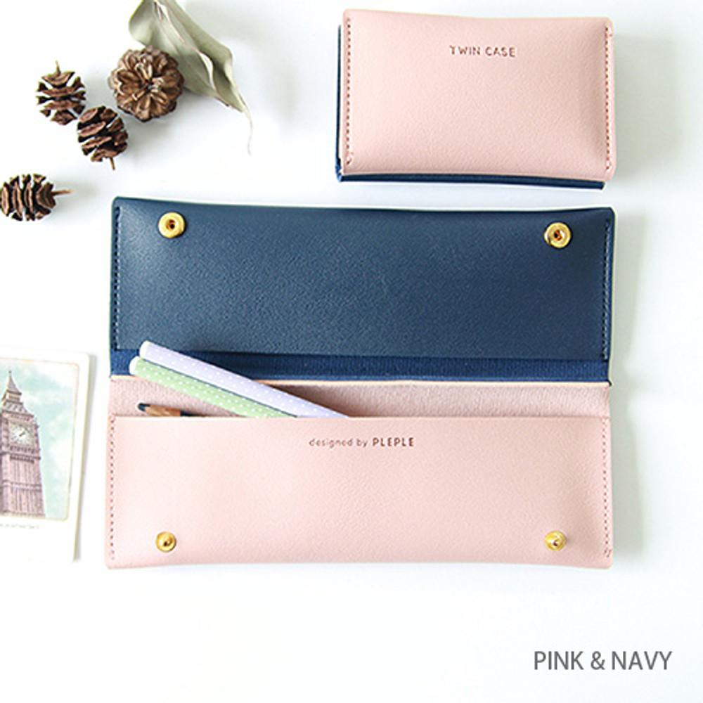 Pink & navy - Multi purpose twin pocket pencil case
