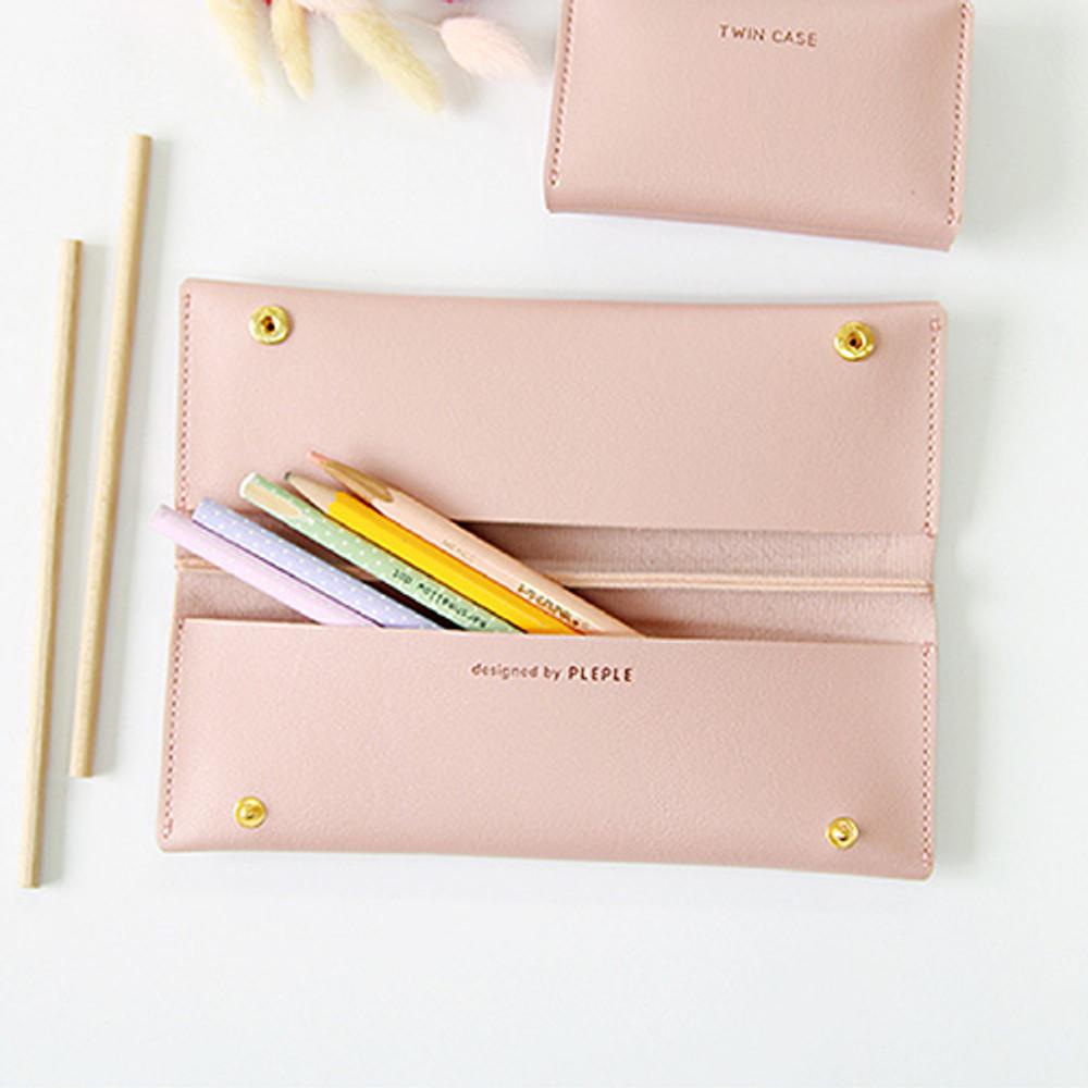 Pink - Multi purpose twin pocket pencil case