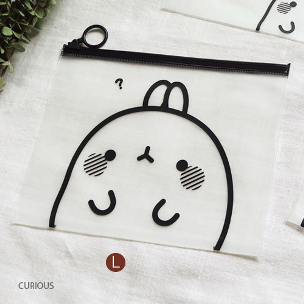 Curious - Molang zip lock large pouch ver2