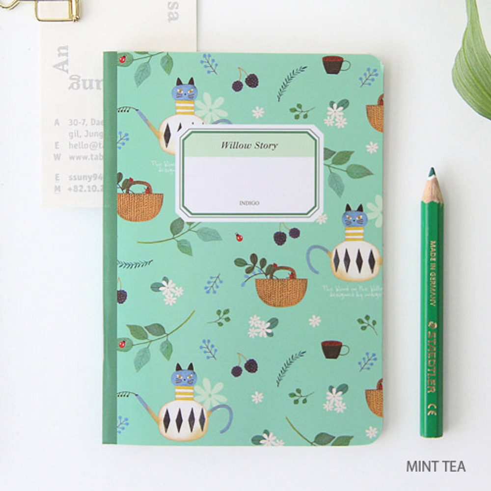 Mint tea - Willow story pattern small lined notebook