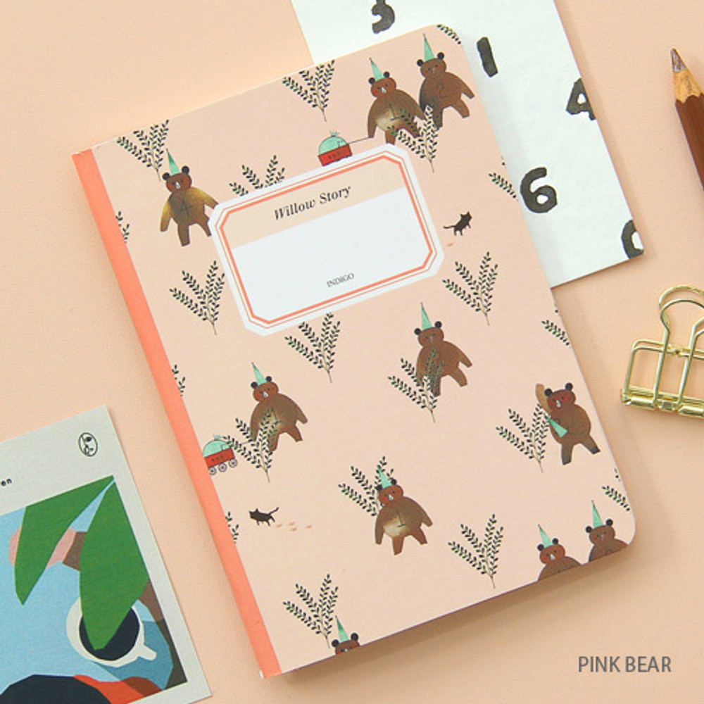 Pink bear - Willow story pattern small lined notebook
