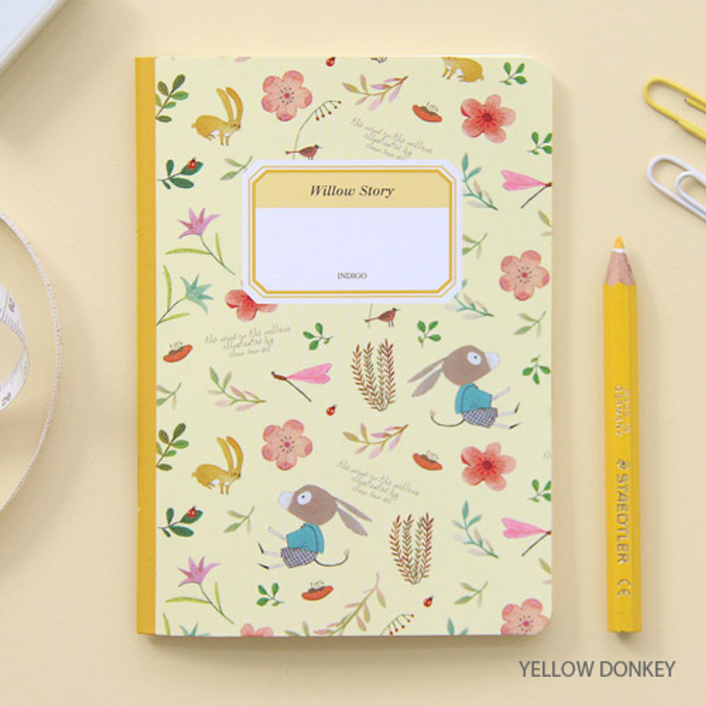 Yellow donkey - Willow story pattern small lined notebook