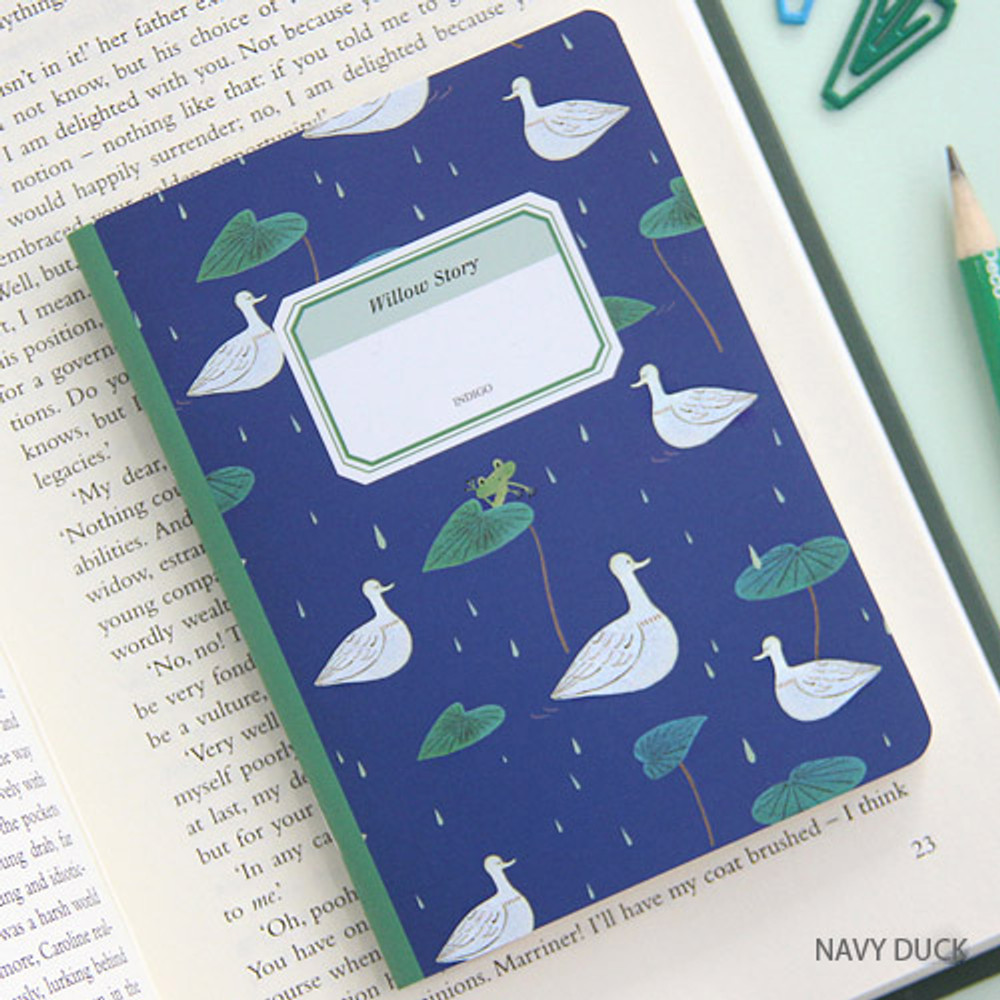Navy duck - Willow story pattern small lined notebook