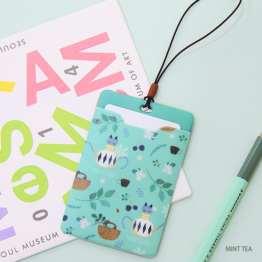 Mint tea - soft flat card holder with rubber strap
