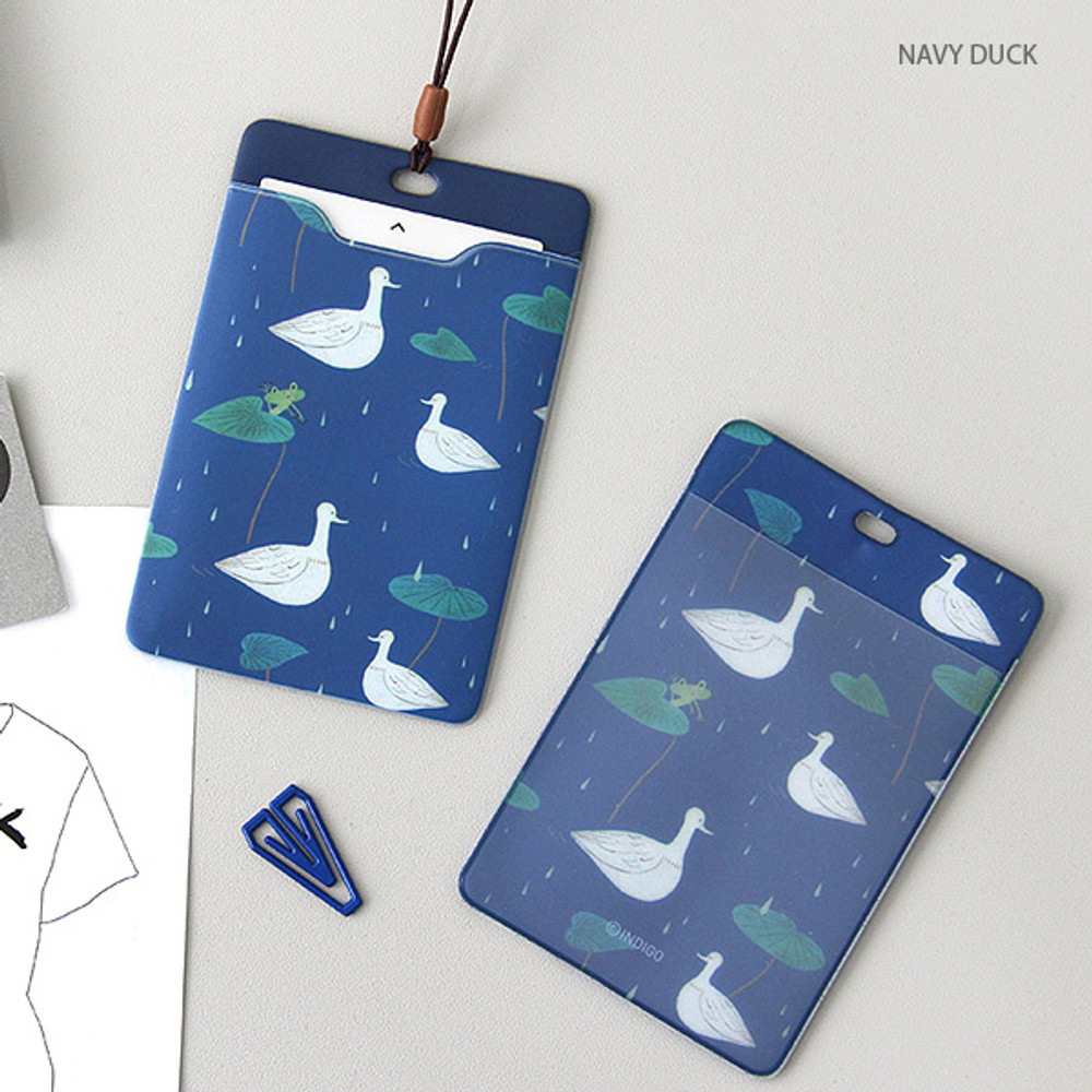 Navy duck - soft flat card holder with rubber strap