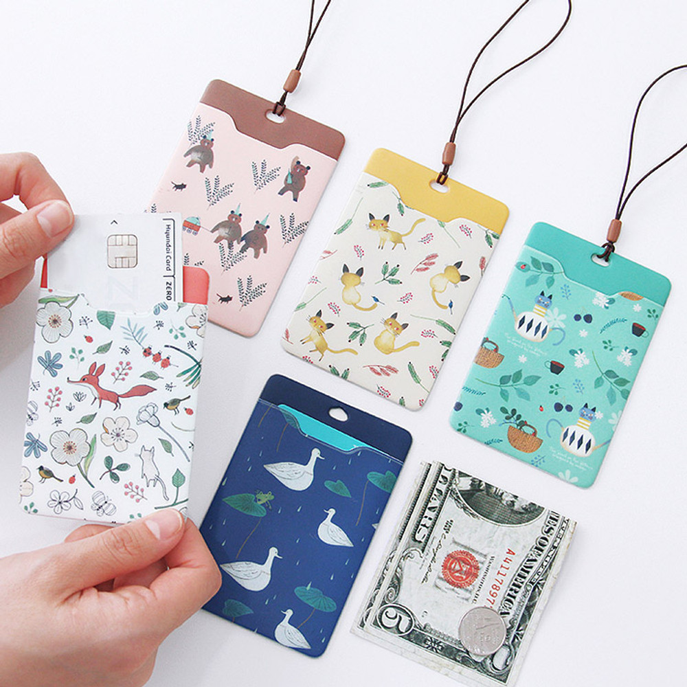 Willow story pattern soft flat card holder with rubber strap