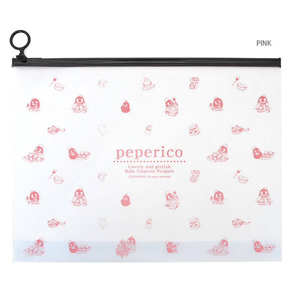 Pink - Peperico Clear zip lock X-Large pouch