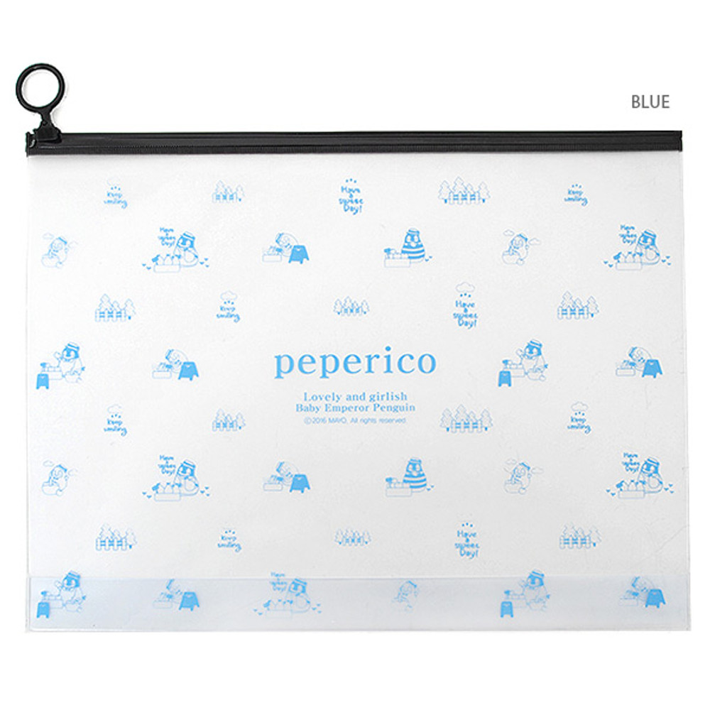 Blue - Peperico Clear zip lock X-Large pouch