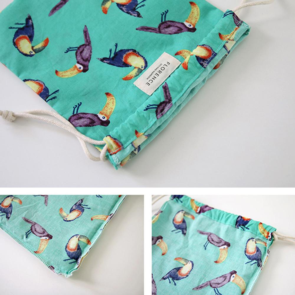 Detail of Florence pattern medium drawstring pouch