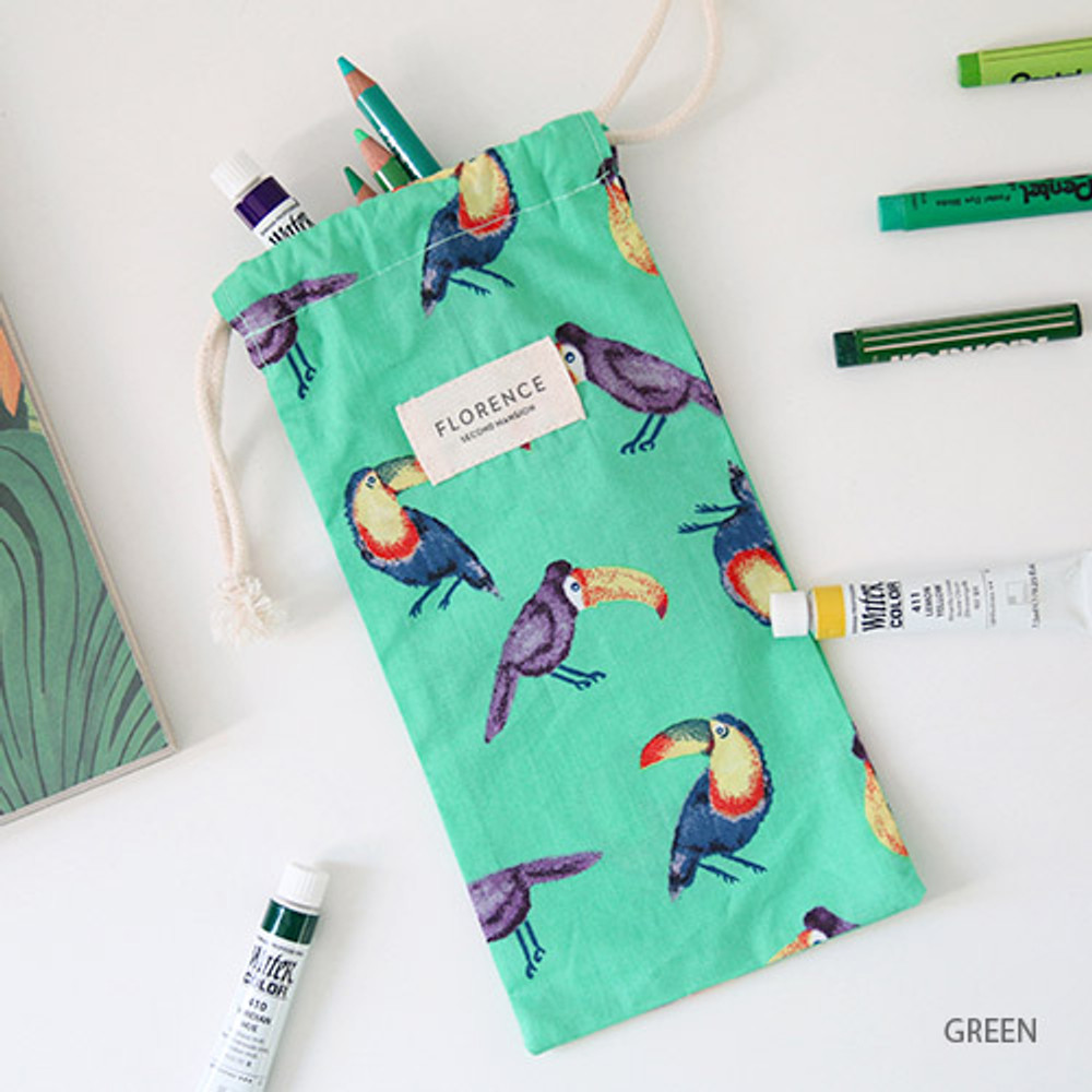 Green - Florence pattern small drawstring pouch