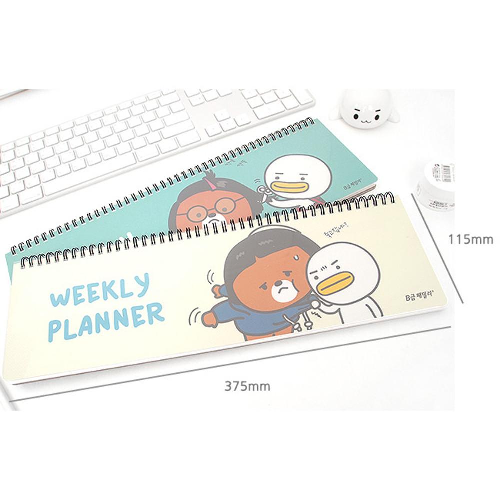 Size of B family wirebound undated weekly planner