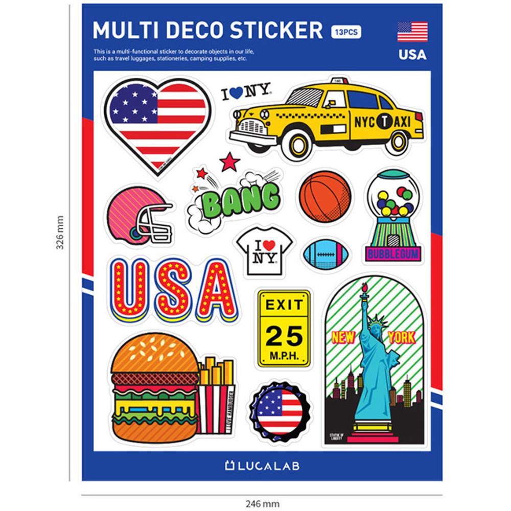Size of Travel multi deco paper sticker