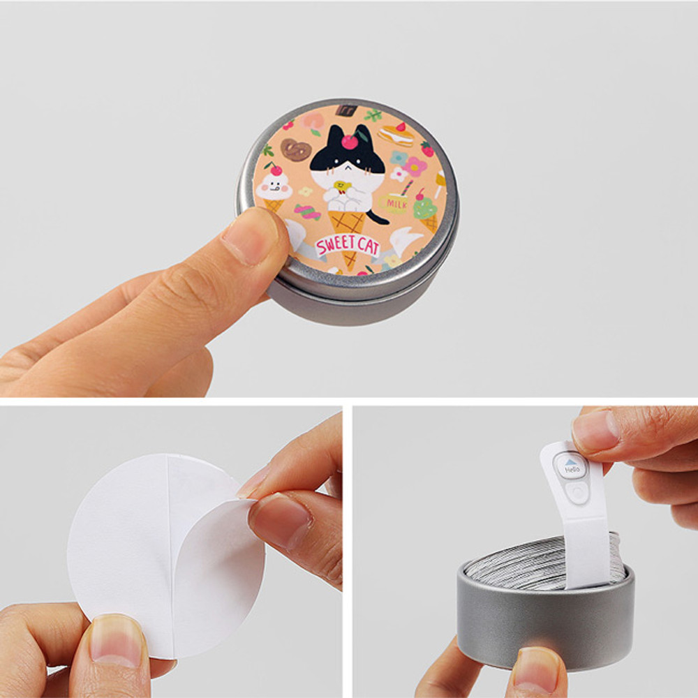 Anchovy circle sticker set with tin case
