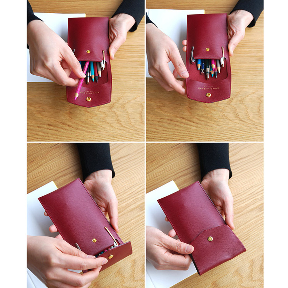 Example use of Extra pocket pencil case with snap button