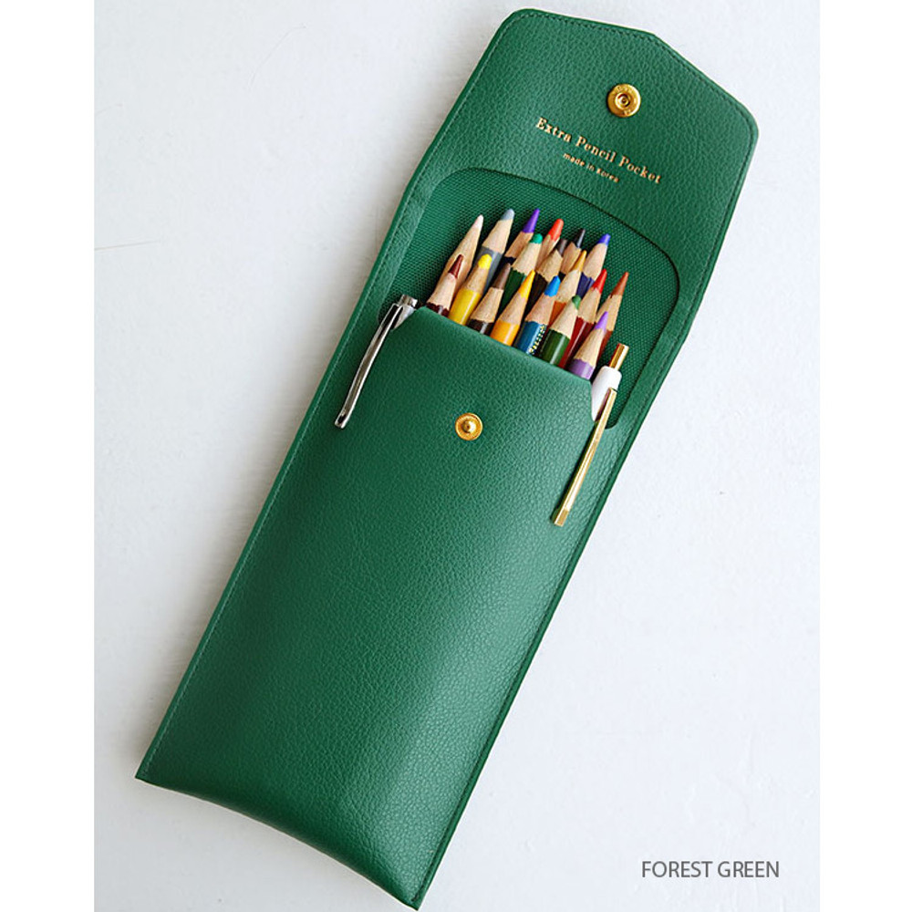 Forest green - Extra pocket pencil case with snap button