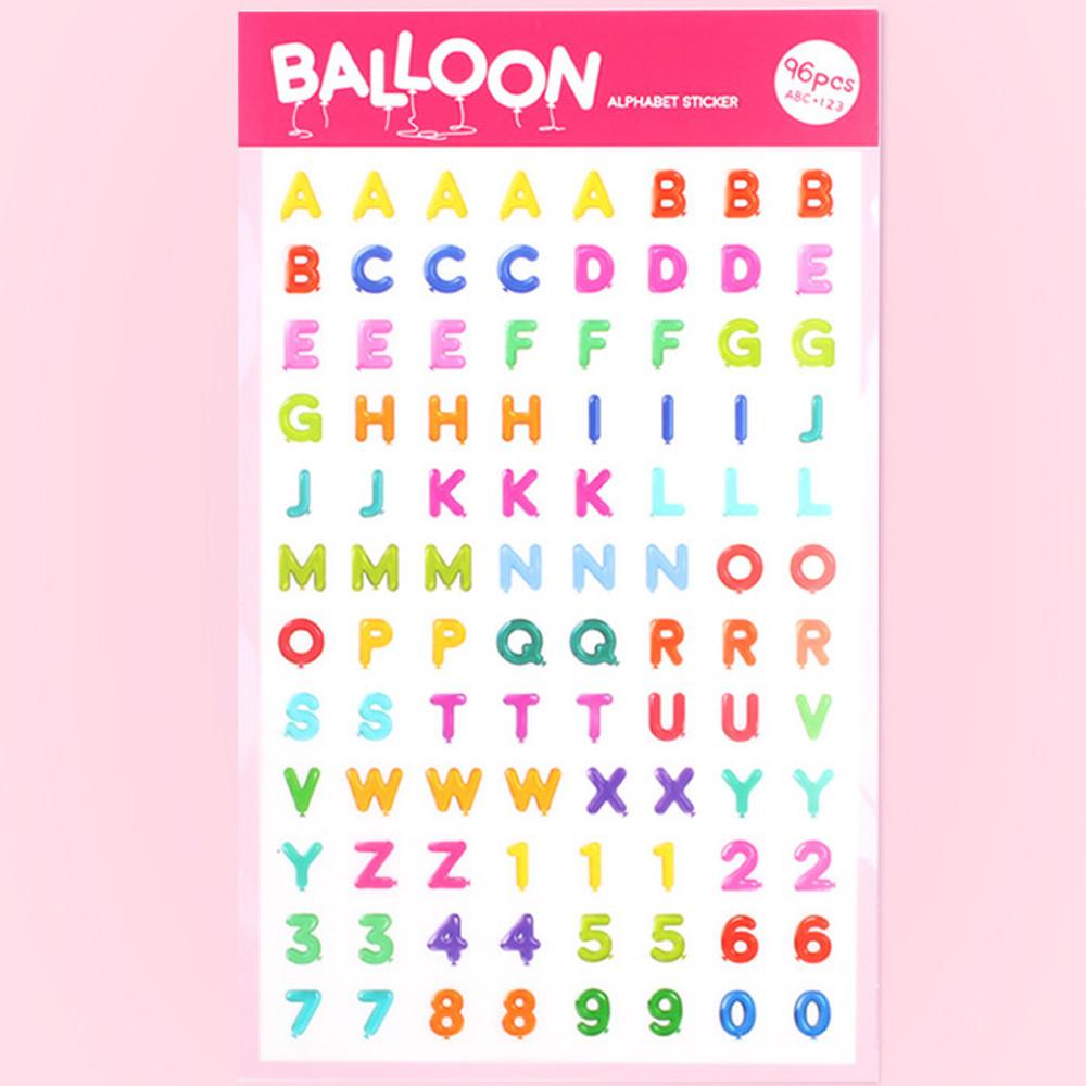 Balloon alphabet PVC deco sticker