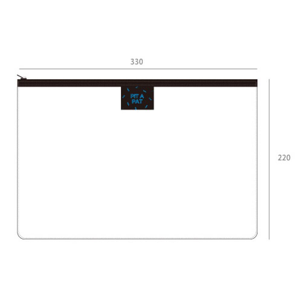 Size of Pit a pat transparent zip lock clutch bag
