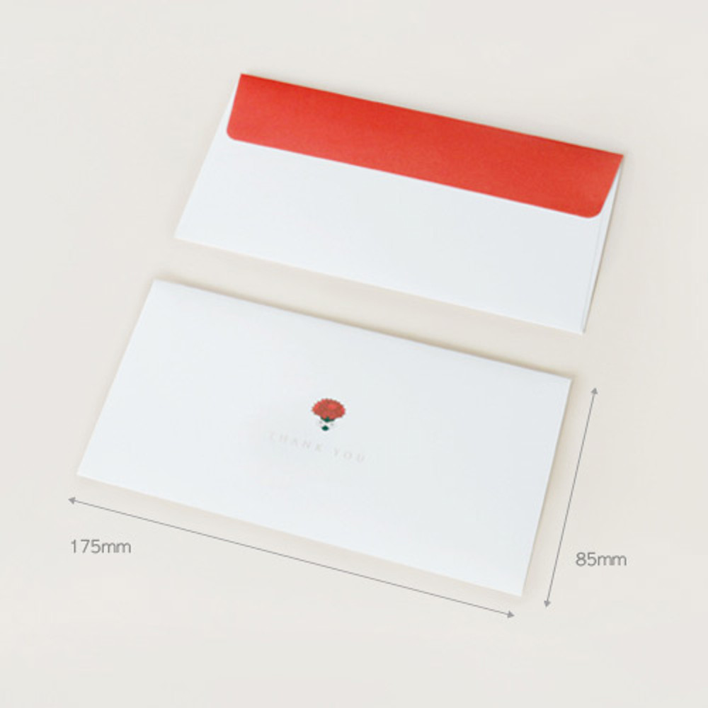 Size of Carnation thank you envelope set