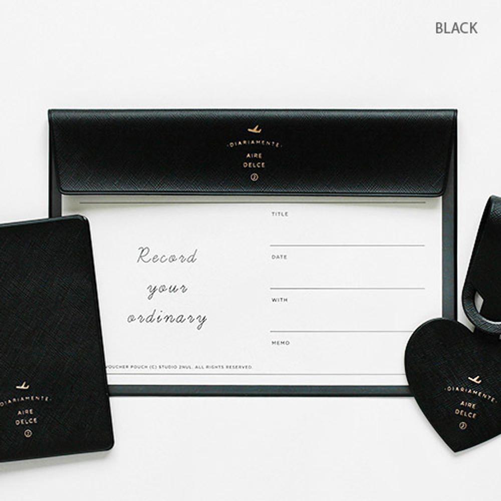 Black - Aire A5 size voucher flat pouch