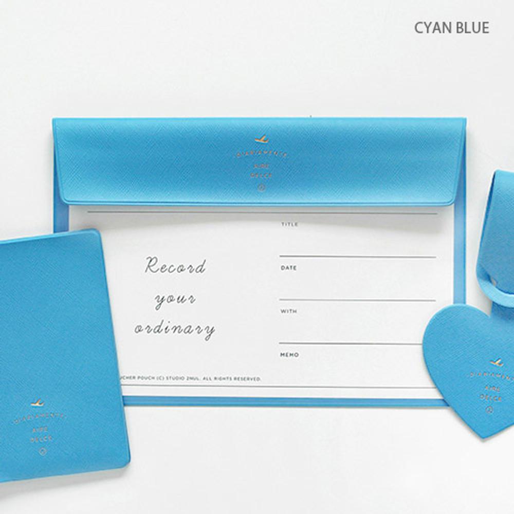 Cyan blue - Aire A5 size voucher flat pouch
