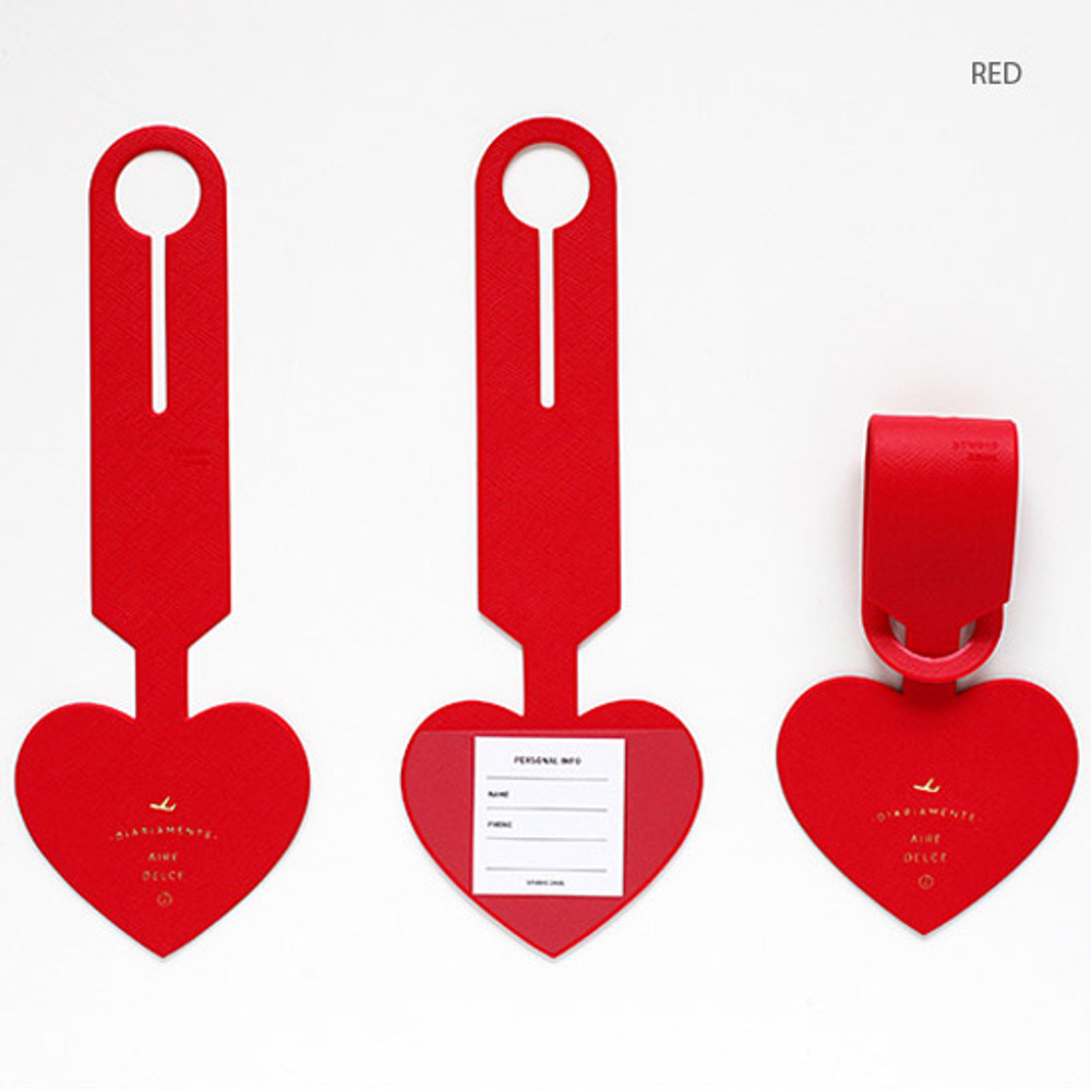 Red - Aire delce heart luggage name tag