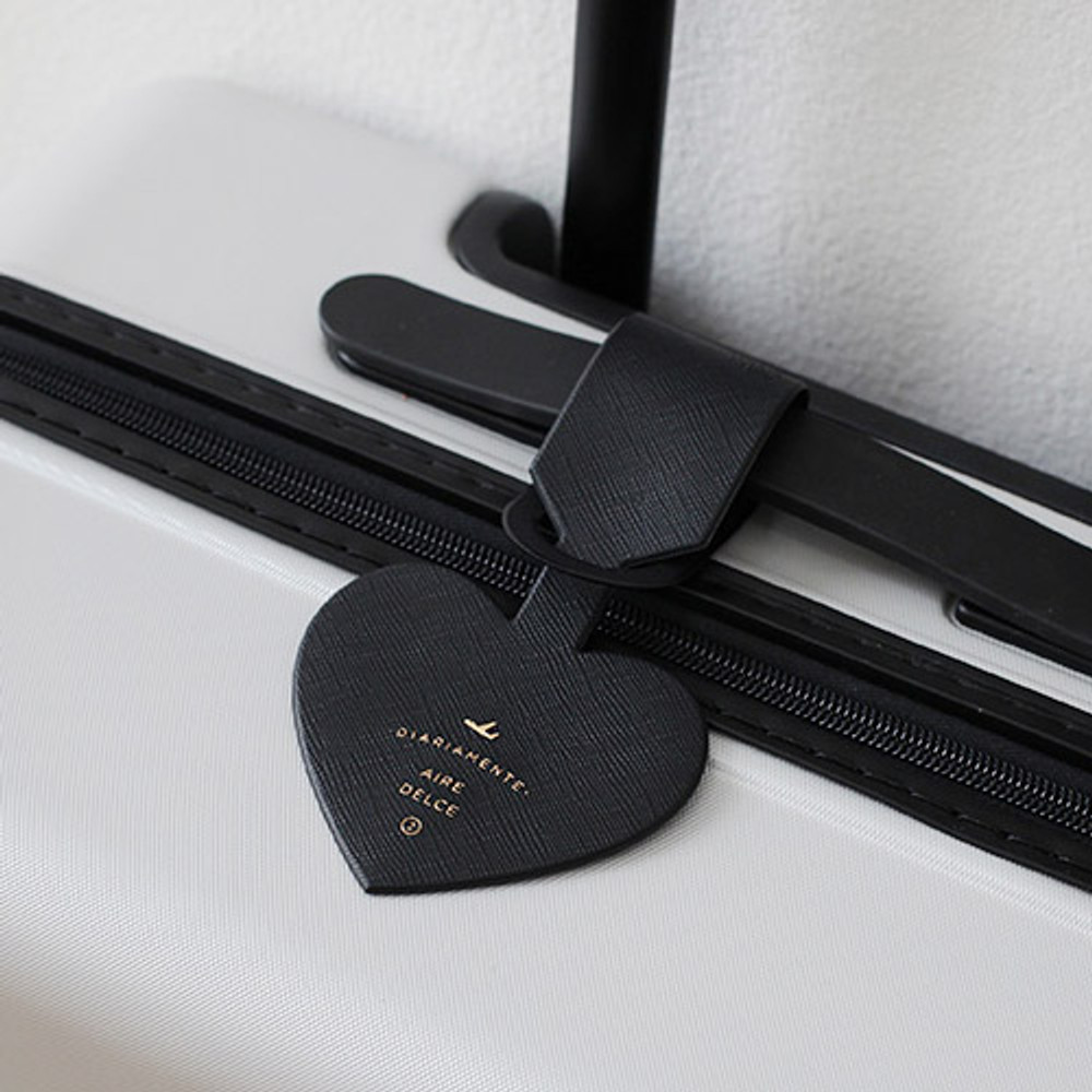 Black - Aire delce heart luggage name tag