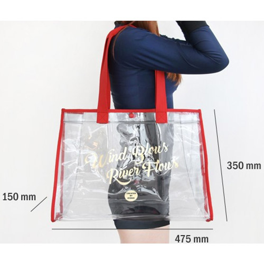 Size of Wind blows river flous clear beach bag