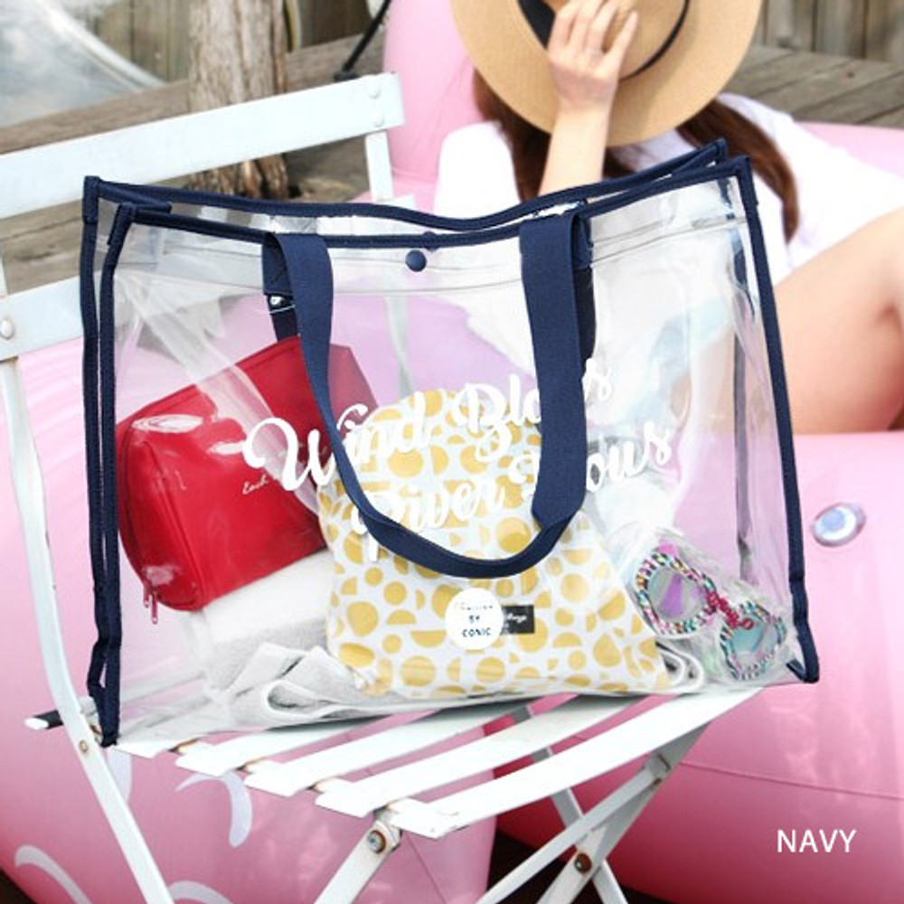 Navy - Wind blows river flous clear beach bag