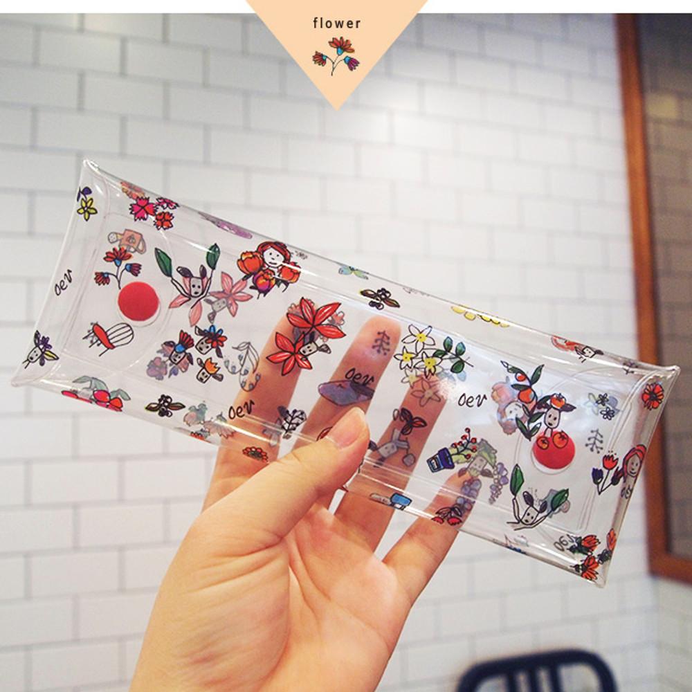 Flower - Odong et valerie clear folding pencil case
