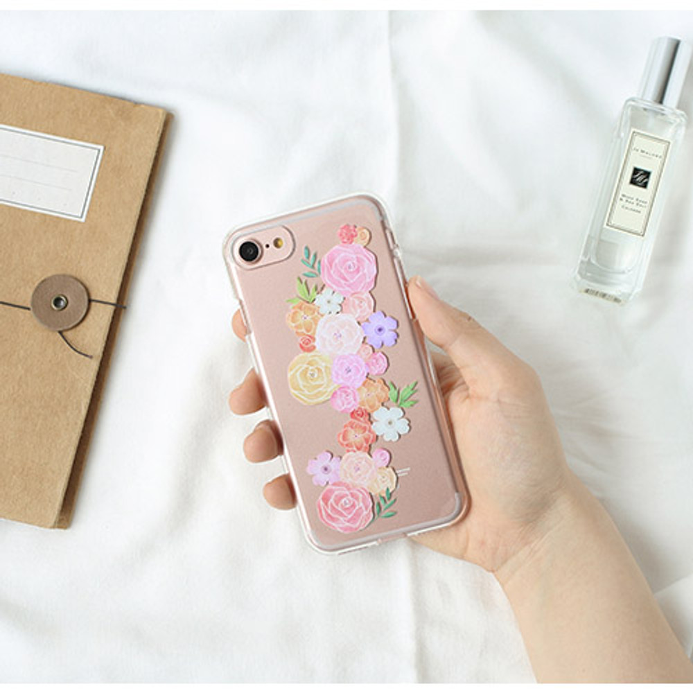 Peony - Flower pattern clear TPU iPhone 7 soft case