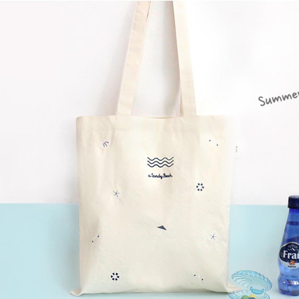 Pit a pat sandy beach eco tote bag