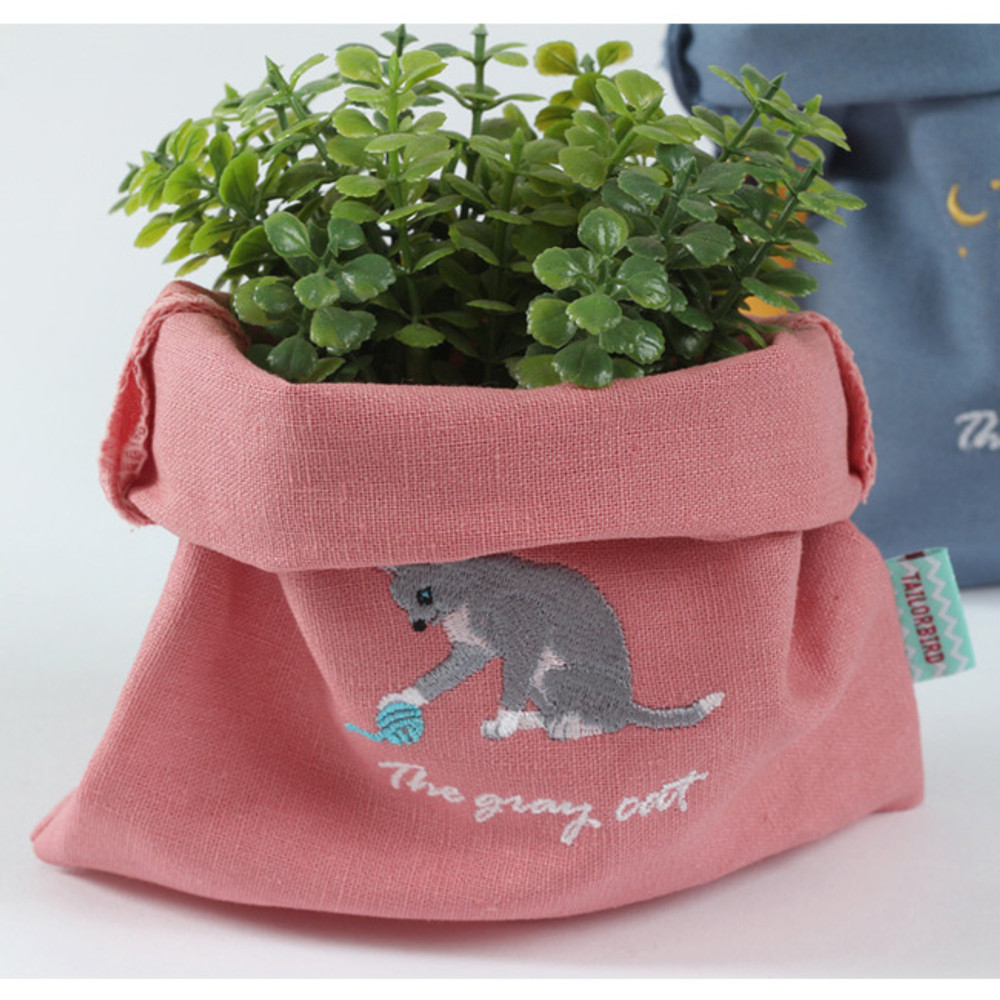 Cat - Tailorbird animal small drawstring pouch