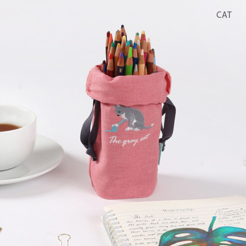 Cat - Tailorbird animal long drawstring pouch