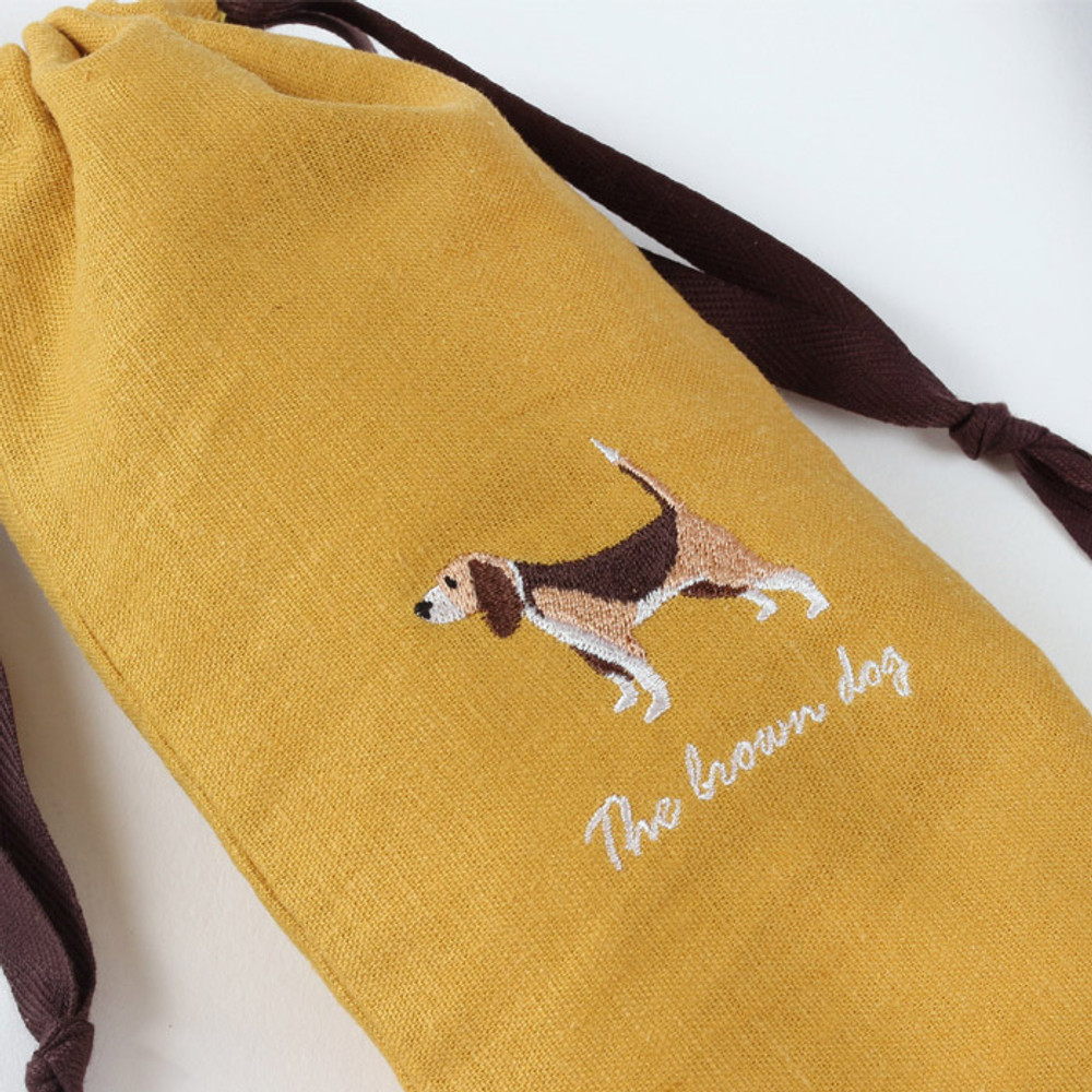Detail of Tailorbird animal long drawstring pouch